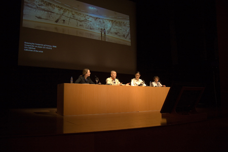Public talk at Guggenheim Bilbao Museum, Spain, March 12, 2009 (pictured, left to right: curator Alexandra Munroe, artist Cai Guo-Qiang, translator Lesley Ma, astronomer Montse Villar Martin)