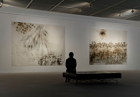 Installation view at Hiroshima City Museum of Contemporary Art (works shown, left to right: Black Fireworks: Project for Hiroshima, Clear Sky Black Cloud: Project for the Metropolitan Museum of Art), 2008. Photo by Seiji Toyonaga, courtesy Hiroshima City Museum of Contemporary Art