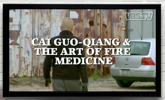 Screenshot of VBS's video feature called <i>Cai Guo-Qiang & The Art of Fire Medicine</i>