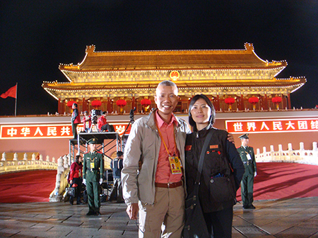 Cai Guo-Qiang and his wife, Hong Hong Wu at China's 60th Anniversary Ceremony in Beijing. Photo courtesy Cai Studio