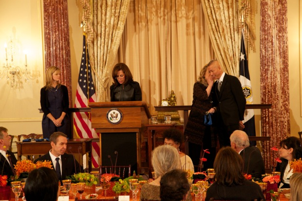 Secretary of State Hillary Rodham Clinton awarding Cai Guo-Qiang the U.S. Department of State - Medal of Arts, Washington, D.C., 2012
