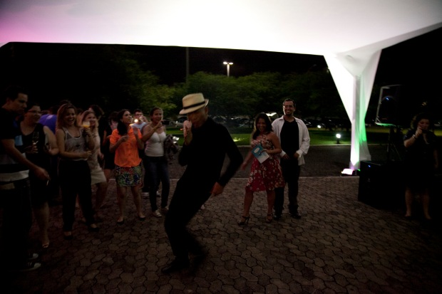 Cai Guo-Qiang during opening for Da Vincis do Povo, Centro Cultural Banco do Brasil, Brasilia, 2013.  Photo by Wen-You Cai, courtesy Cai Studio.