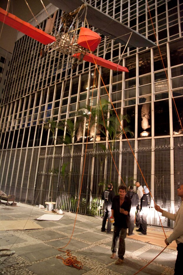 Installation of Fairytale can only happen between 11 pm - 5 am, as that is the only time the pedestrian-only walkway can be closed.  At 2 am, we were visited by a local drunk.  He offered us a cigarette.  We politely declined.  Photo by Wen-You Cai, courtesy Cai Studio.