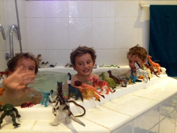 Luka, 3, Liam, 8, and Fergus, 5, creating their own version of Heritage, 2014