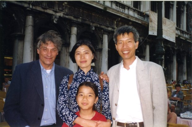 Cai Guo-Qiang, Hong Hong Wu, Wen You Cai and Jan Hoet, Venice, 1999 Courtesy Cai Studio