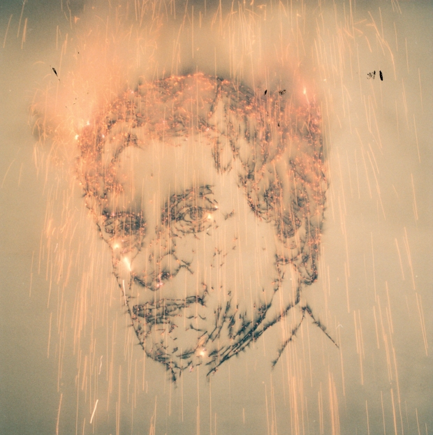 Inheritance: Exploding Jan Hoet's Portrait (explosion event), realized at S.M.A.K, Belgium, March 28, 2003, approximately 10 seconds Photo by Dirk Pauwels, courtesy S.M.A.K. Museum of Contemporary Art