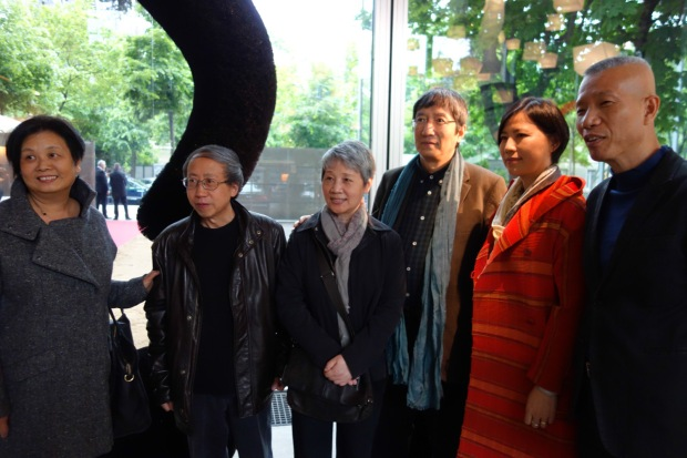 Cai Guo-Qiang and Hong Hong Wu with Fei Dawei and Huang Yong Ping during opening of Vivid Memories, Fondation Cartier pour l'art contemporain, Paris, France, 2014 Photo by Mariluz Hoyos, courtesy Cai Studio