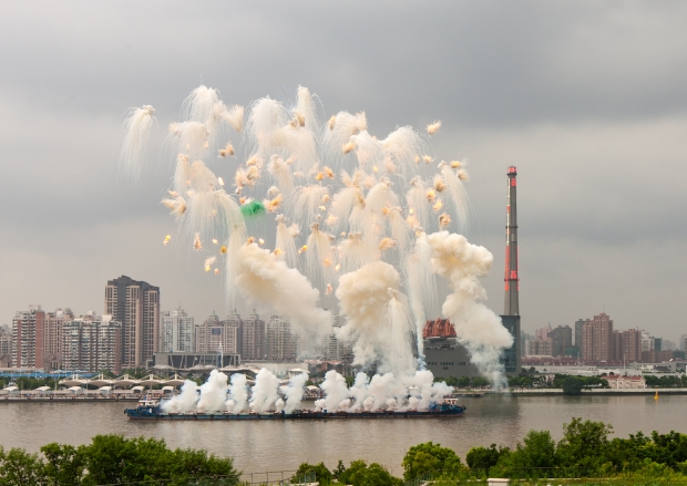 Elegy, chapter one of Elegy: Explosion Event for the Opening of Cai Guo-Qiang: The Ninth Wave, realized on the riverfront of the Power Station of Art, 5:00 p.m., approximately 8 minutes Photo by Zhang Feiyu, courtesy Cai Studio