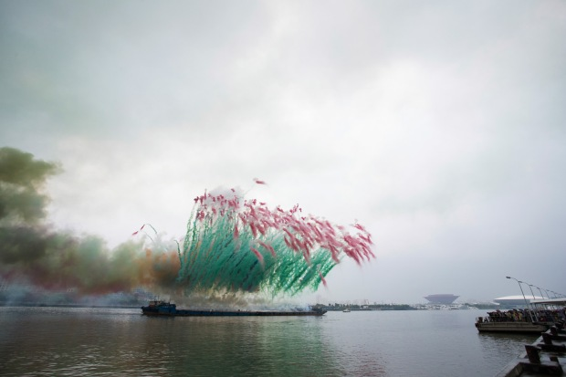 Remembrance, chapter two of Elegy: Explosion Event for the Opening of Cai Guo-Qiang: The Ninth Wave, realized on the riverfront of the Power Station of Art, 5:00 p.m., approximately 8 minutes.  Photo by JJY Photo, courtesy Cai Studio